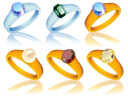 Ring collection with jewel, vector illustration, EPS file included Vector