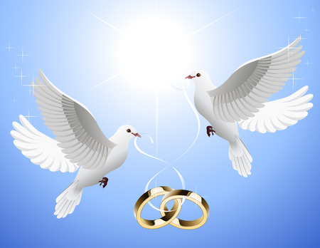 nuptials: White doves holding  rings, vector illustration, EPS file included