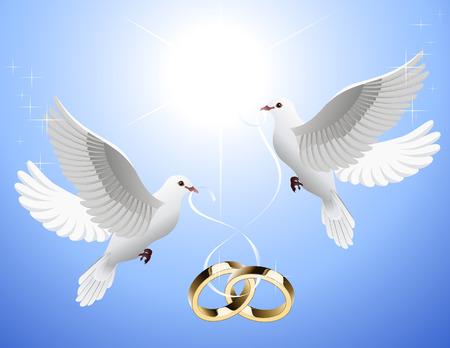 palomas volando: White palomas celebraci�n de bodas anillos, ilustraci�n vectorial, EPS archivo incluido