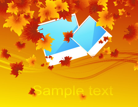 autumnally: Autumn photos, vector illustration, EPS file included Illustration