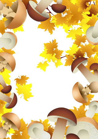 autumnally: Mushroom autumnal background, vector illustration, EPS and AI files included Illustration