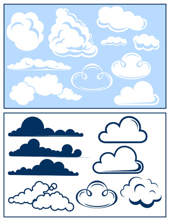 Cloud set, vector illustration, EPS file included
