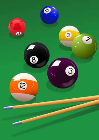 Billiard balls and cue, vector illustration, EPS file included Illustration