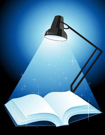 book vector: Lamp shining on the book, vector illustration, EPS file included