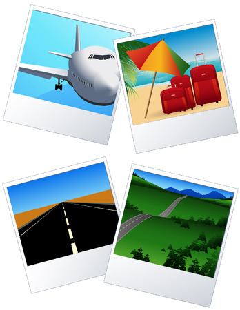sunshades: Travel photos, vector illustration, EPS file included