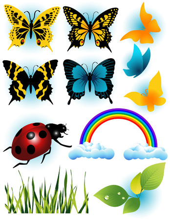 Summer objects, vector illustration, EPS file included Vector