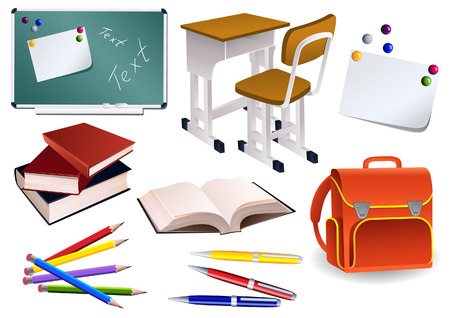 case studies: School objects, vector illusration, EPS file included