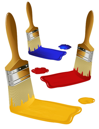 flat brushes: Paint brushes, vector illustration, EPS file included
