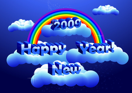 New Years greeting in the sky, vector illustration, EPS and AI files included, vector illustration, EPS file included Vector
