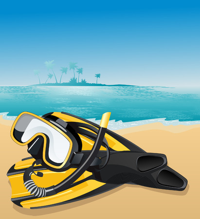 aqualung: Flippers and swimming mask, vector illustration, EPS file included