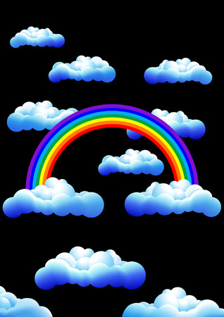 Rainbow in the night, vector illustration, EPS  file included Vector