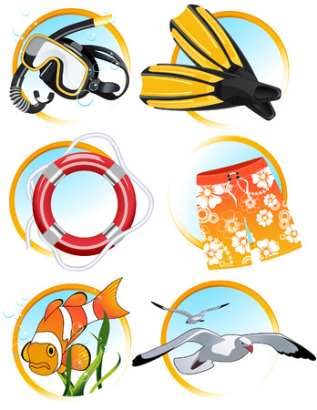 aqualung: Swimming icons, vector illustration, EPS file included