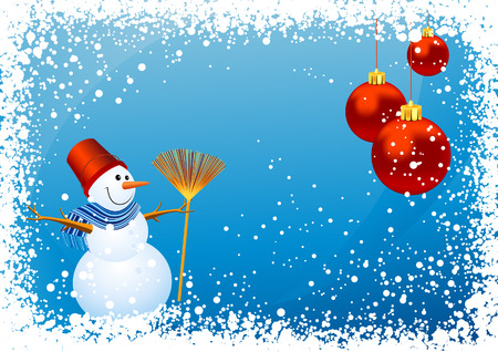 Snowman background, vector illustration, EPS file included Vector