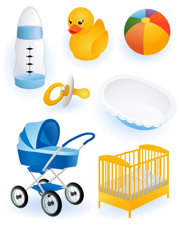 perambulator: Baby accessori, illustrazione vettoriale, inclusi file EPS