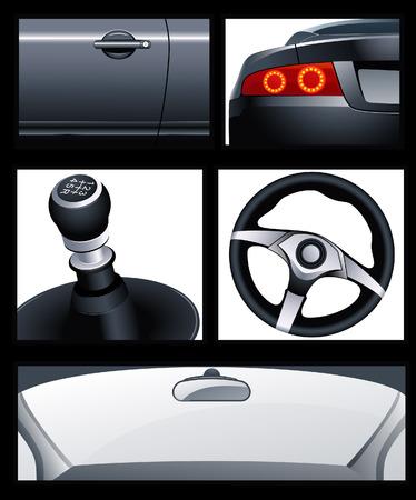 front wheel drive: Car elements, vector illustration, file included Illustration