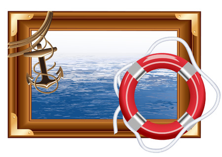 rope vector: Sea frame, vector illustration, file included