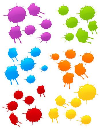 Colored blot set, vector illustration, file included
