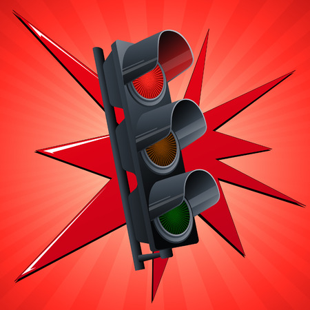 Red traffic light, vector illustration, file included Vector