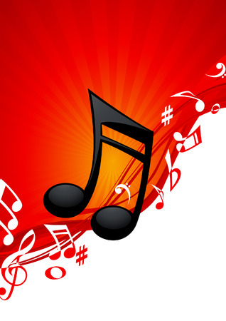 Red note music background, vector illustration, file included Vector