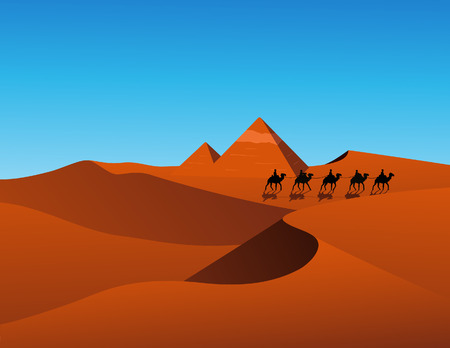 leasure: Desert scene, vector illustration, file included
