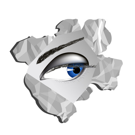 Eye looking through paper hole, vector illustration, file included Vector