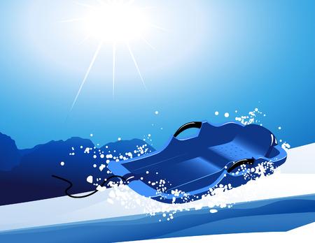 luge: Sledge on the slope, vector illustration, file included Illustration