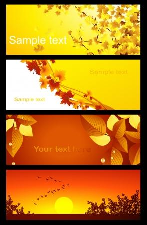 Autumnal background set, vector illustration, file included Vector