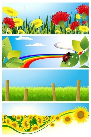 Summer background set, vector illustration, file included Vector