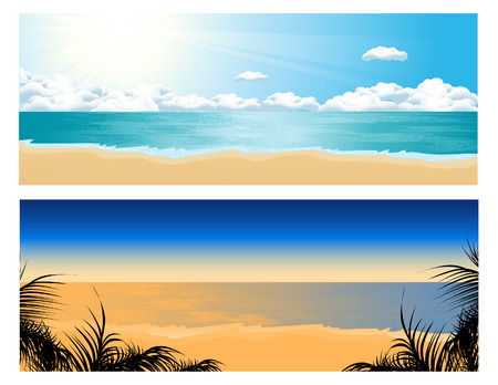 Tropical beach set, vector illustration, format included Vector