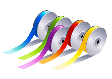 gombolyag: Textile ribbons, vector illustration, file included