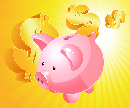 Piggy bank and dollar, vector illustration, filу included Vector