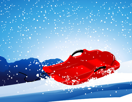 the slope: Red sledge on the slope, vector illustration, file included Illustration