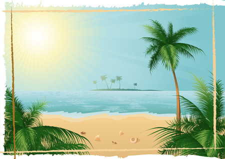 Beautiful tropical beach, format included Illustration