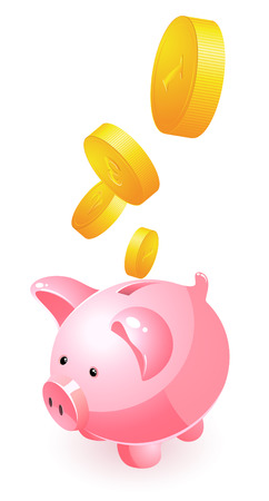 white piggy bank: Piggy bank and money, vector illustration, file included