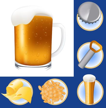 cerveza negra: Elementos de la Cerveza, ilustraci�n vectorial, archivo EPS incluido