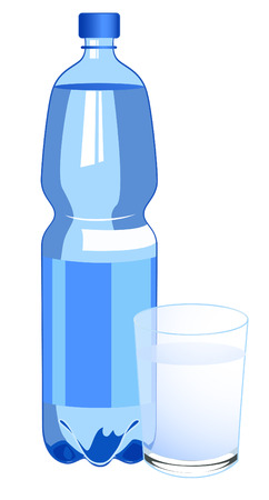 minerals: Bottle of water, vector illustration, file included