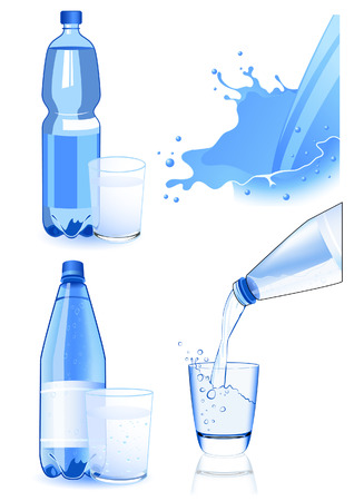 fizzy water: Bottle and glass set, vector illustration, file included