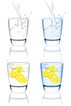 bleb: Water glass set, vector illustration, file included