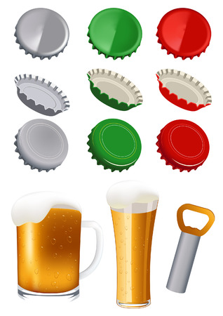 Beer objects, vector illustration, file included Illustration