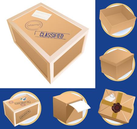 pasteboard: Parcel set, vector illustration, file included
