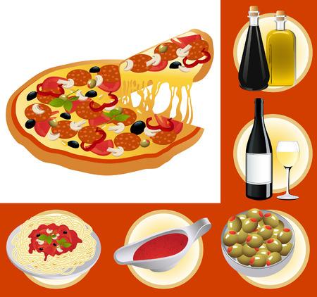 mozzarelle e formaggi: Cibo italiano insieme, illustrazione vettoriale, inclusi file EPS