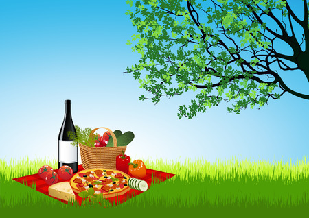 Picknick on summer field, vector illustration, file included