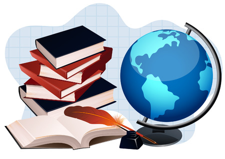 Globe and books, vector illustration, file included Vector