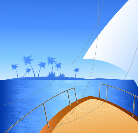 beach side: Yaght board, vector illustration, file included Illustration