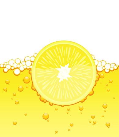 Lemon slice in the juice, vector illustration, file included Vector
