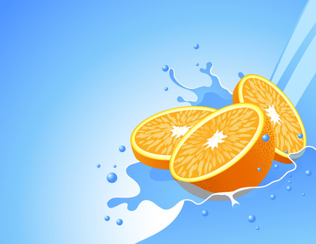 vials: Orange in the water splash, vector illustration, file included Illustration