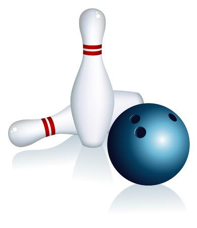 quilles: Jeu de quilles et bowling ball, illustration vectorielle, le fichier EPS inclus