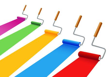 Colored painting rollers,vector illustration, file included Vector