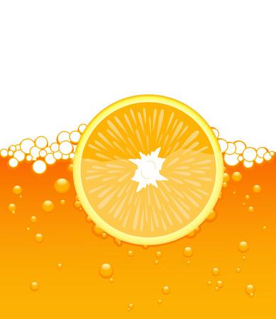 Orange slice in the juice, vector illustration, file included Stock Vector - 4587944