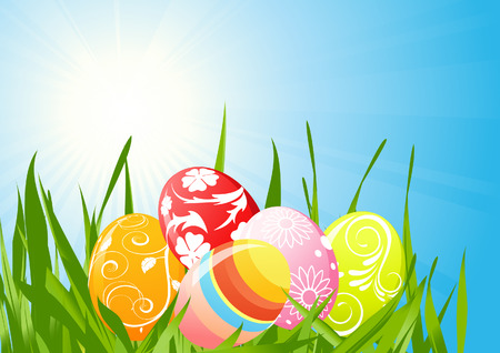 Easter eggs on the grass, vector illustration, file included Vector